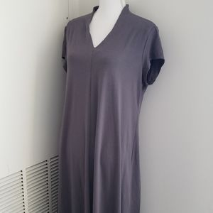 Eileen Fisher Grey Swing Dress with cap sleeves